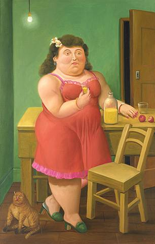 femme chat Botero