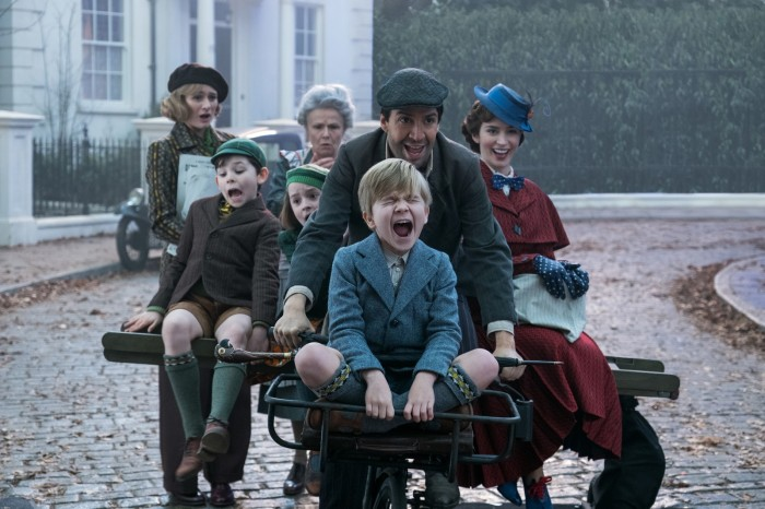 Jane (Emily Mortimer), John (Nathanael Saleh), Annabel (Pixie Davies), Ellen (Julie Walters). Jack (Lin-Manuel Miranda) Georgie (Joel Dawson) and Mary Poppins (Emily Blunt) in Disney's original musical MARY POPPINS RETURNS, a sequel to the 1964 MARY POPPINS which takes audiences on an entirely new adventure with the practically-perfect nanny and the Banks family.