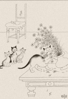 chat dubout pot de fleurs